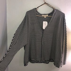 Navy and white striped v-neck sweater